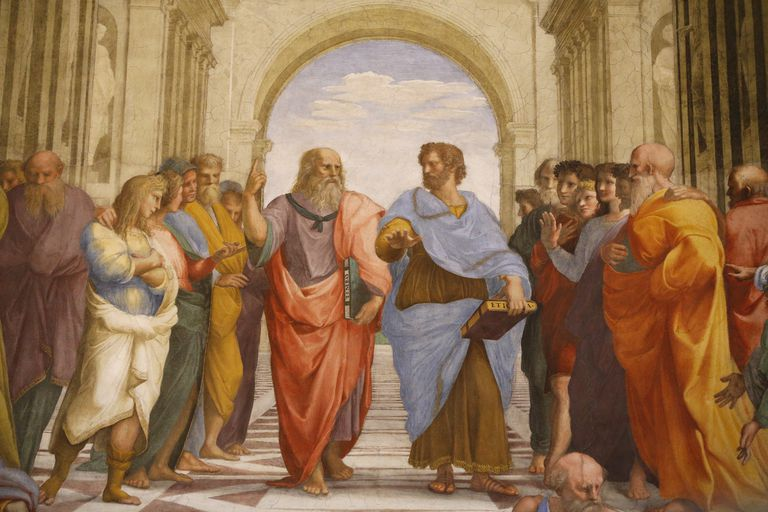 Detail of a mural by Raphael painted for Pope Julius II - In the center Plato (Leonardo da Vinci) discourses with Aristotle. 1509. Raphaël. Room of the Segnatura. Vatican Museum.