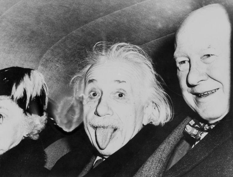 Albert Einstein sticking out his tongue