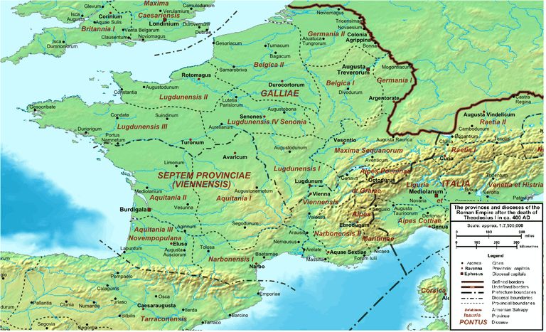 A map of Gaul around 400 A.D.