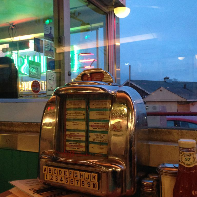 tabletop jukebox at a diner