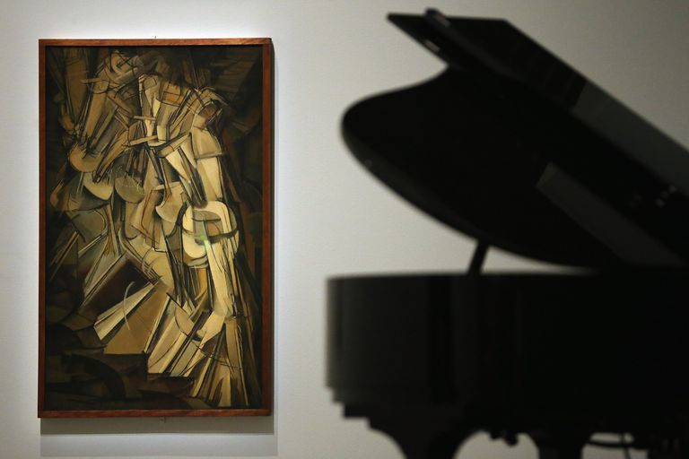 "photo of painting ""Nude Descending A Staircase"" by Marcel Duchamp"