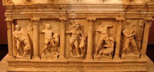 Sarcophagus Shows the 1st 5 Labors of Hercules.