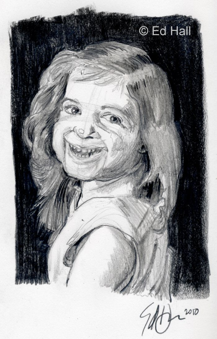 The completed portrait sketch