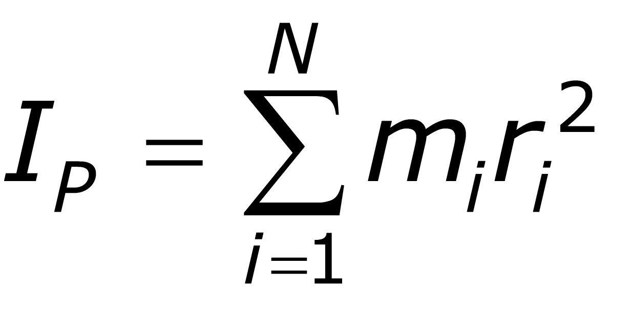 I-sub-P equals the sum of i from 1 to N of the quantity m-sub-i times r-sub-i squared