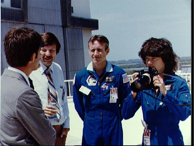 Astronaut Sally K. Ride, mission specialist for STS-7, and others.