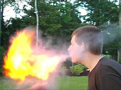 Corn starch is the fuel being used for this firebreathing.
