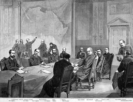 Black and white sketch of the Berlin Conference.