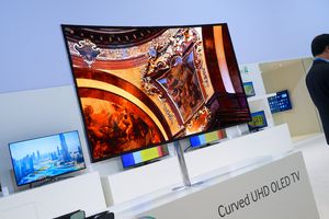 A Curved ultra high definition OLED TV from Samsung on display