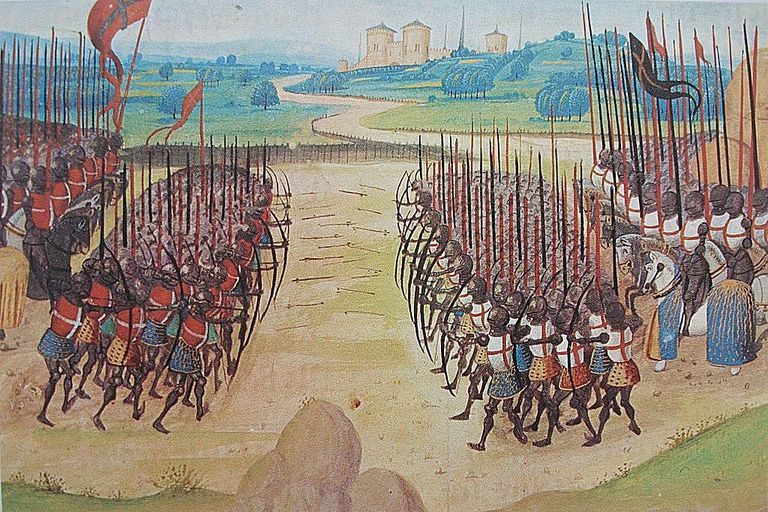A full-color image depicting the battle of Agincourt.