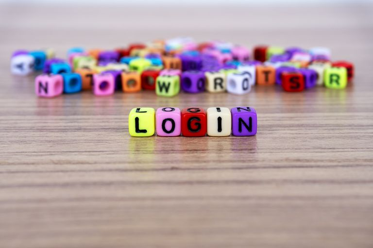 "Lettered dice spelling the word ""login"""