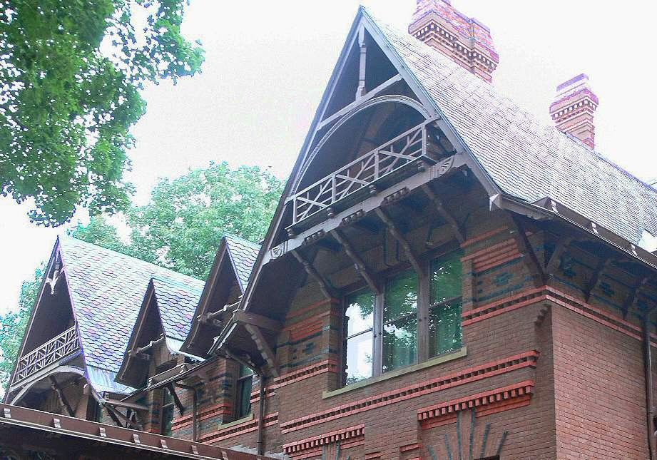Gables at the Mark Twain house have massive brackets and decorative trusses.