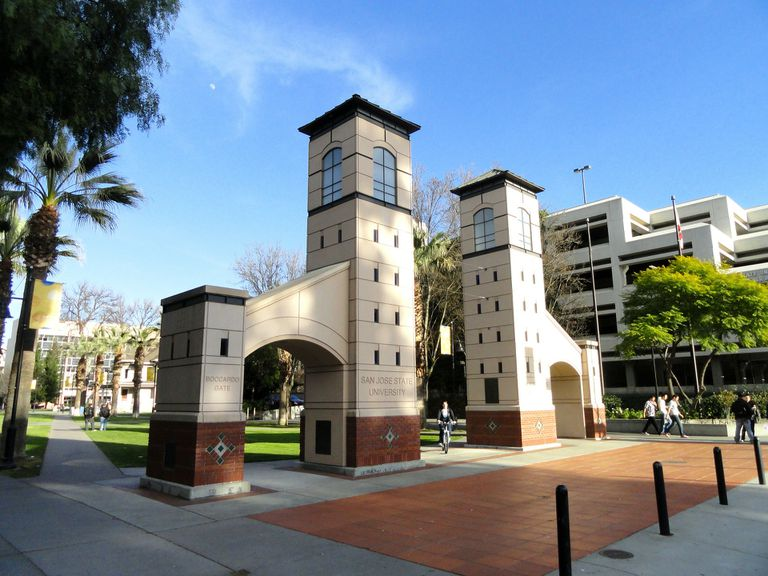 Entrance to California campus in San Jose on a sunny day.