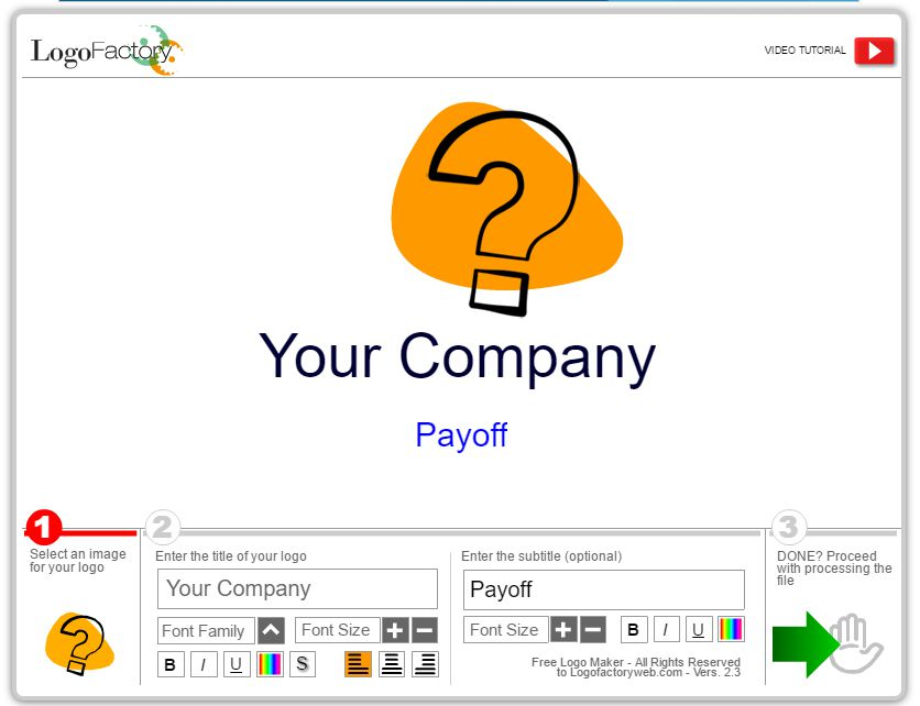Screenshot of the work area at Logo Factory free logo maker
