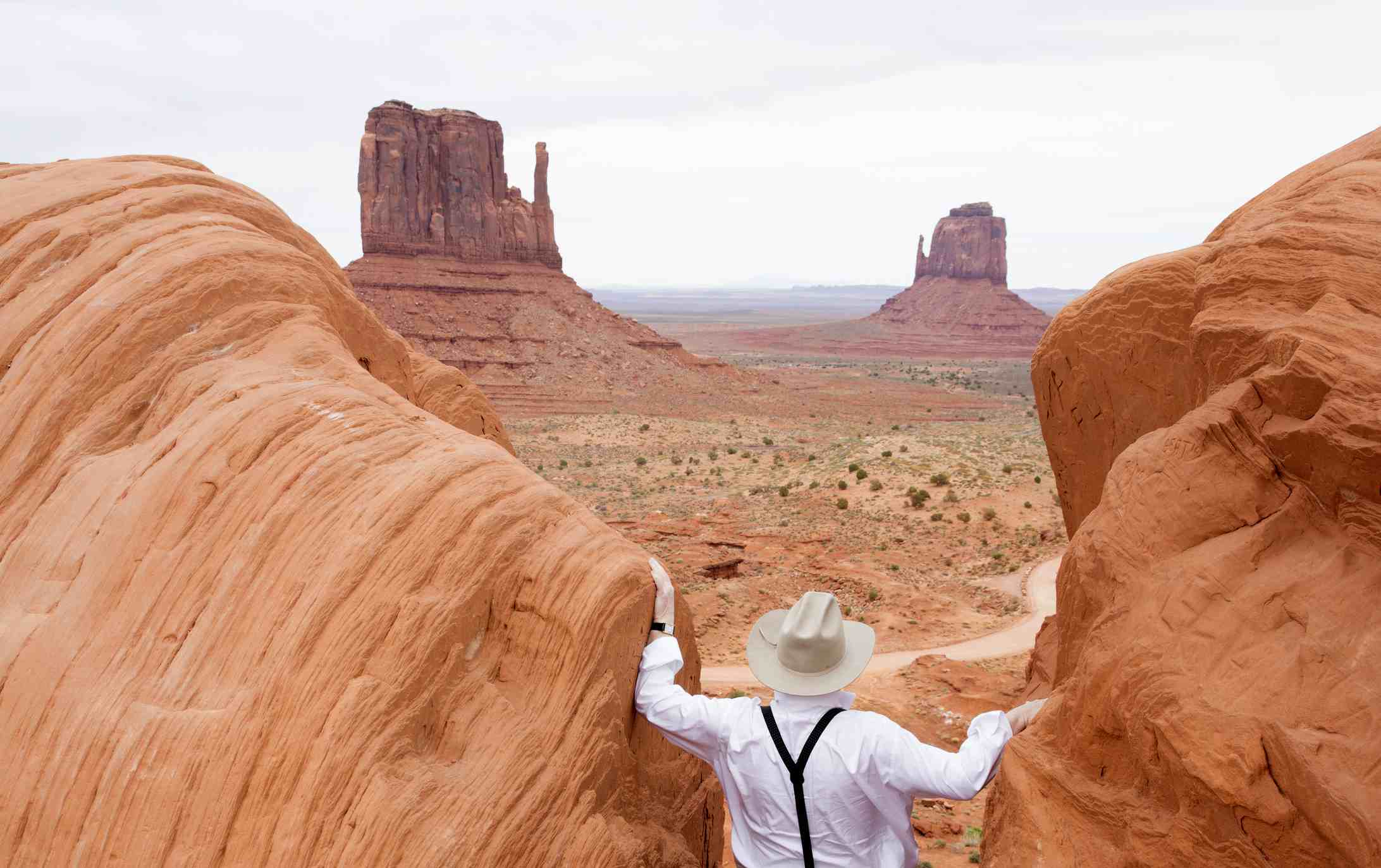 Monument Valley, man enjoying the view of Navajo Tribal park