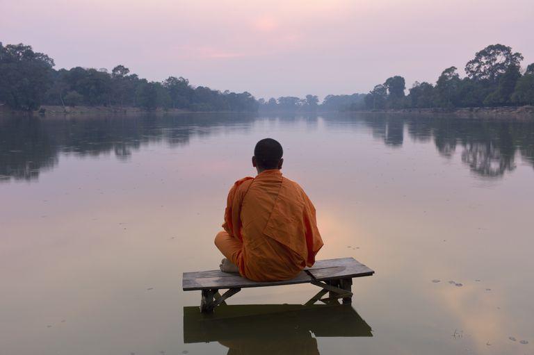 Angkor Wat,Buddhist monk at sunset