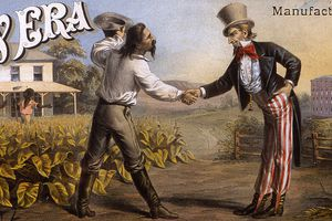 Reconstruction Panorama: Reconstruction post-Civil War scene advertising poster