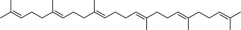 Esta es la estructura química del escualeno.