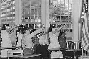 The Bellamy Salute in US classroom