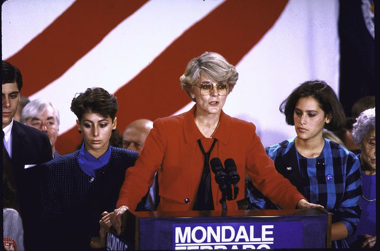 Dem VP candidate Geraldine Ferraro conceding the election