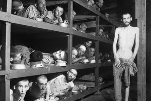 Jewish slave laborers in the Buchenwald concentration camp near Jena, Germany. (April 16, 1945).