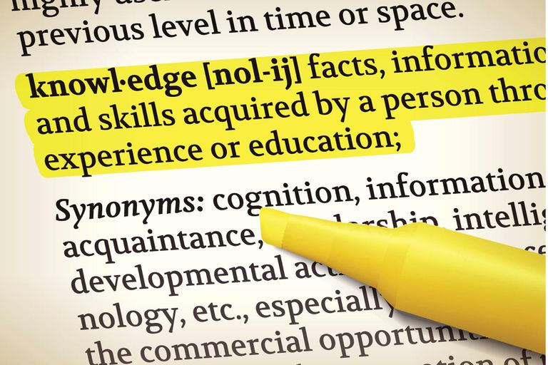 the definition of 'knowledge' highlighted in a text