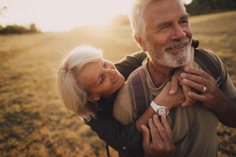 Elderly couple enjoying spending time together.