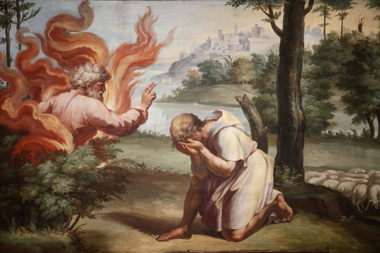Painting of Moses and the burning bush.