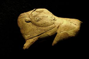 Close up of a Neolithic ivory bison against black background.