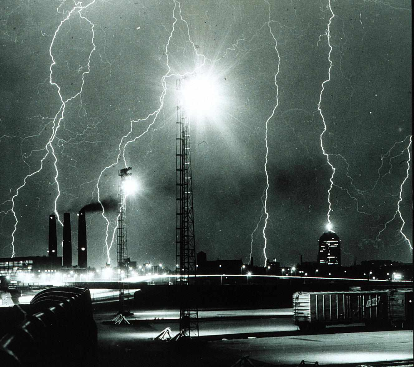 This black and white photo is of a lightning storm over Boston, circa 1967.