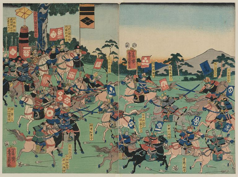 Samurai armies clash at the Battle of Kawanakajima. Print by Utagawa Yoshikazu, 1857
