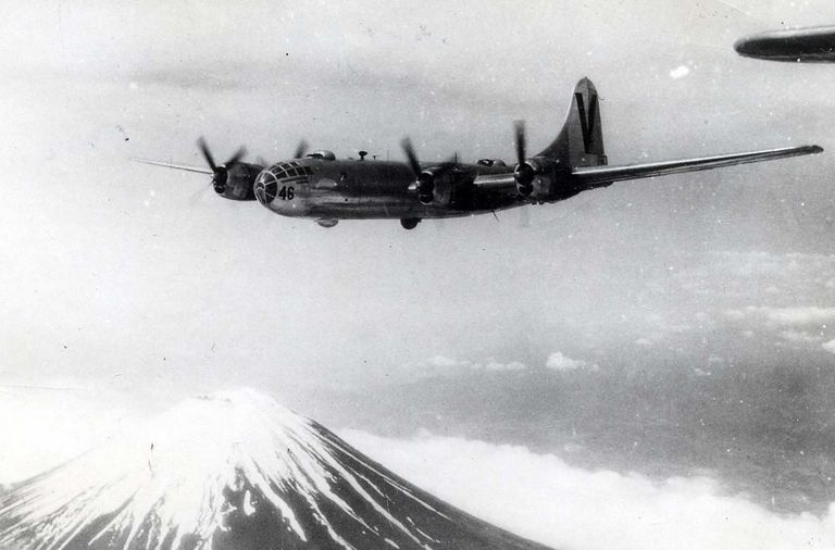 B-29 Superfortress over Japan during World War II