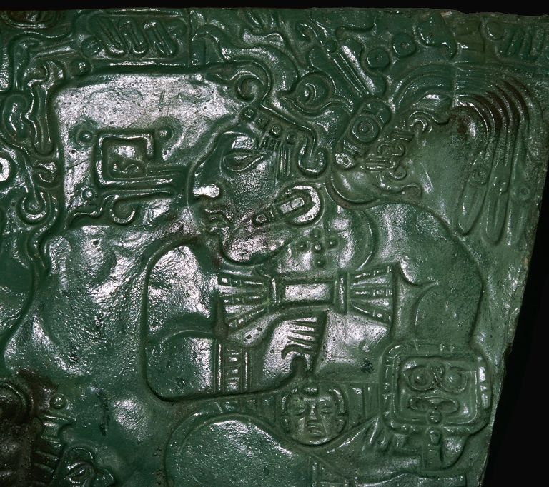 Jade Maya Carving of a Seated Dignitary from Las Cuevas