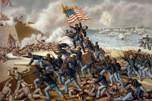 Print of African-American troops attacking a fort.