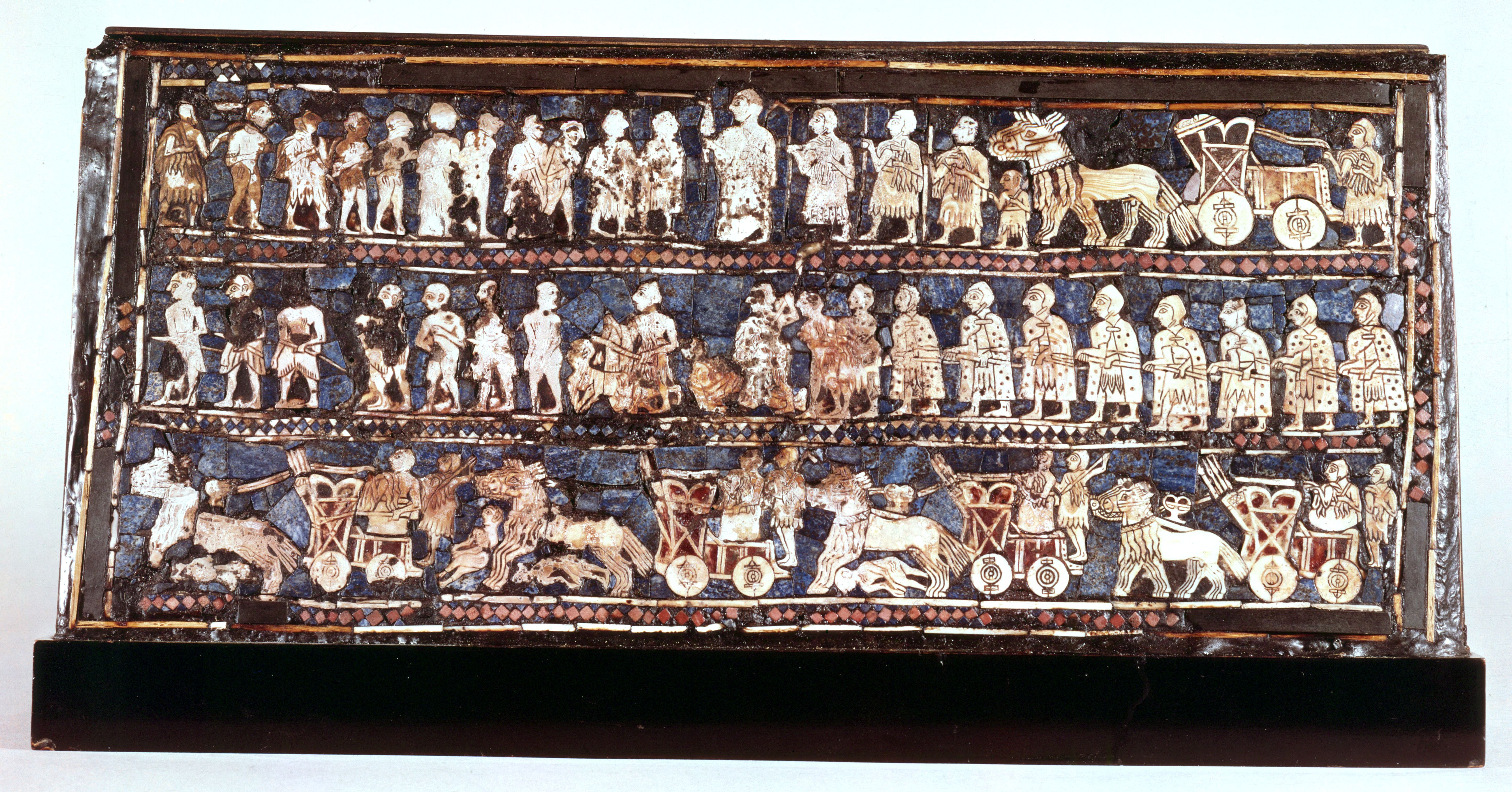 Standard of Ur, the war side, from the Royal Cemetery at Ur, Sumerian, c2500 BC.