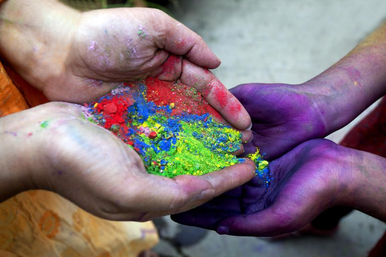 Playing with Gulal, Holi Festival,India