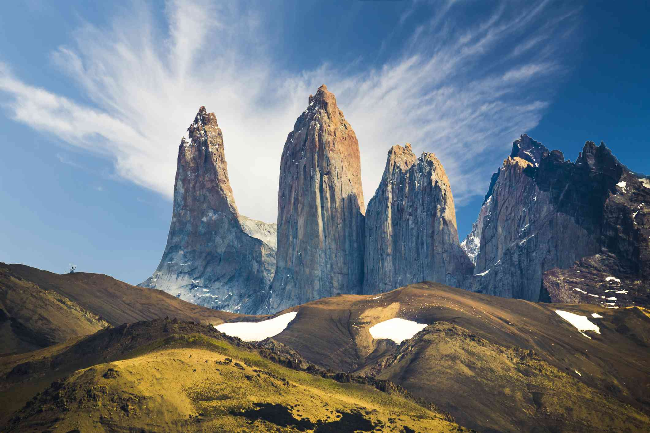Impressive view of Torres del Paine on a trekking day