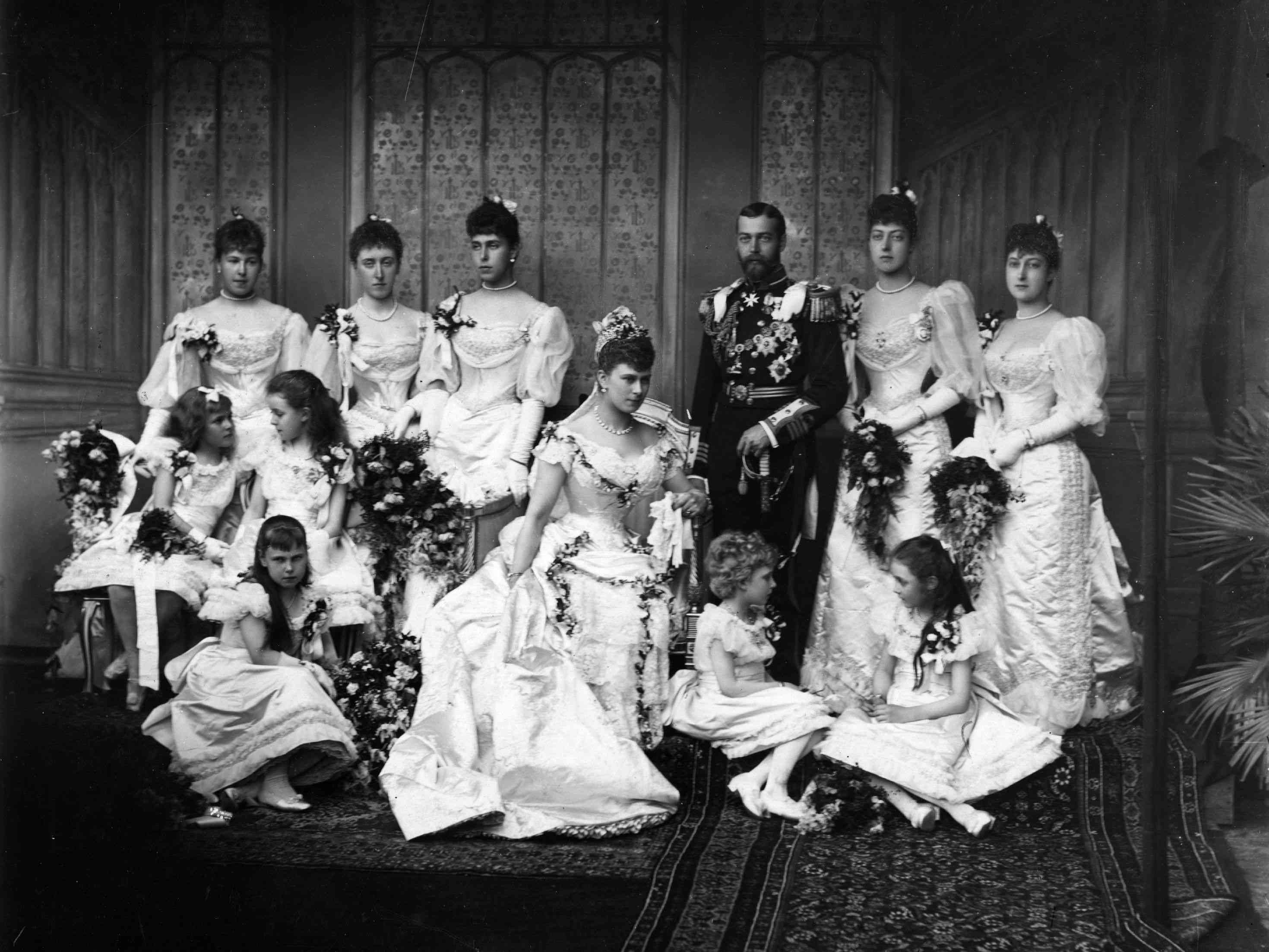 The wedding party of the future King George V and Mary of Teck in 1893