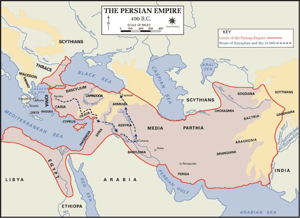 Map of the Persian Empire at its height, in 490 B.C.
