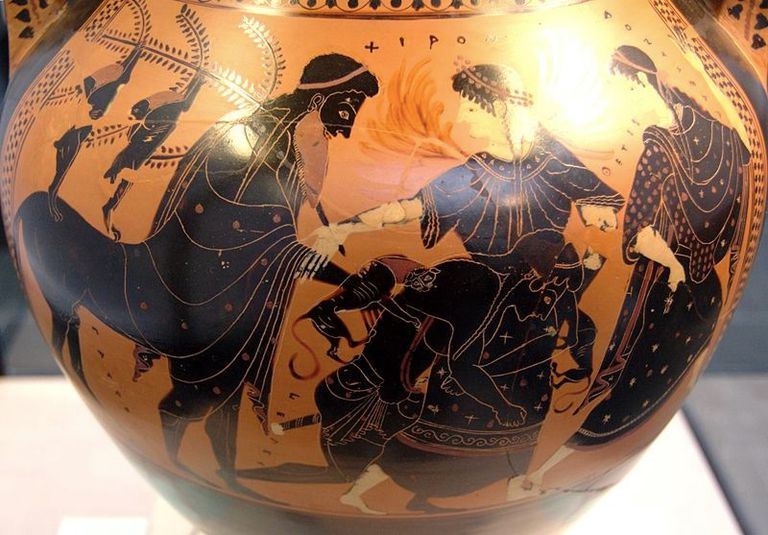 Peleus raping Thetis, between Chiron and a Nereid. Attic black-figure amphora, c. 510 B.C.