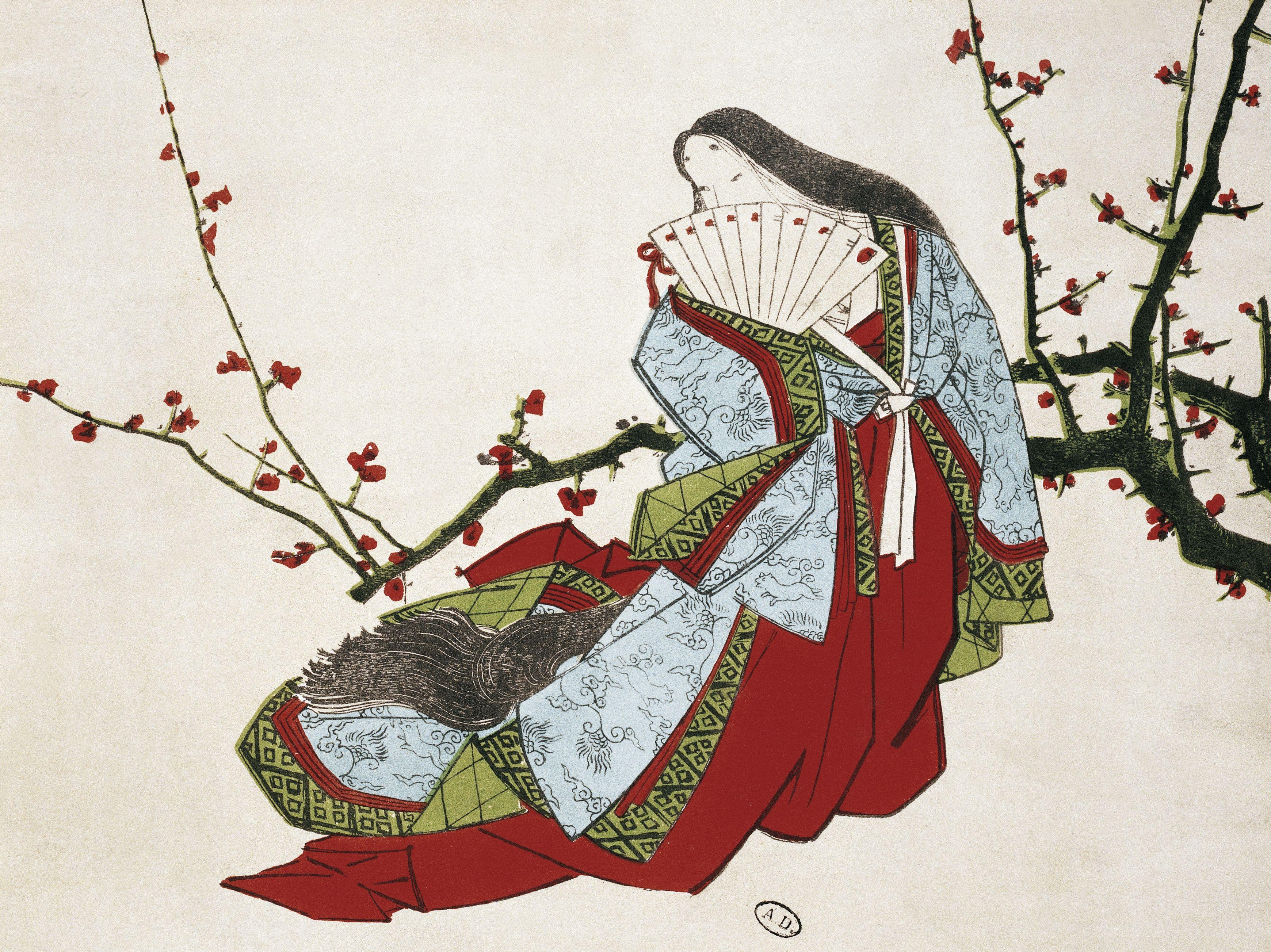 Poetess Ono no Komachi (ca 825-900), illustration from L'Art magazine, 1875, Japanese civilization