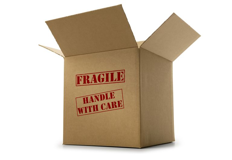 Box labeled fragile and handle with care