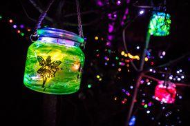 lantern jars hanging from trees in the dark