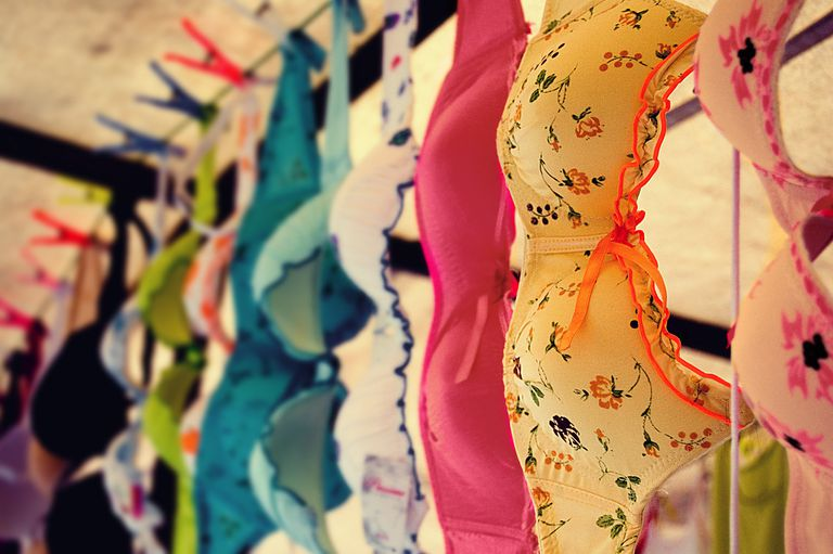 Bras hanging to dry