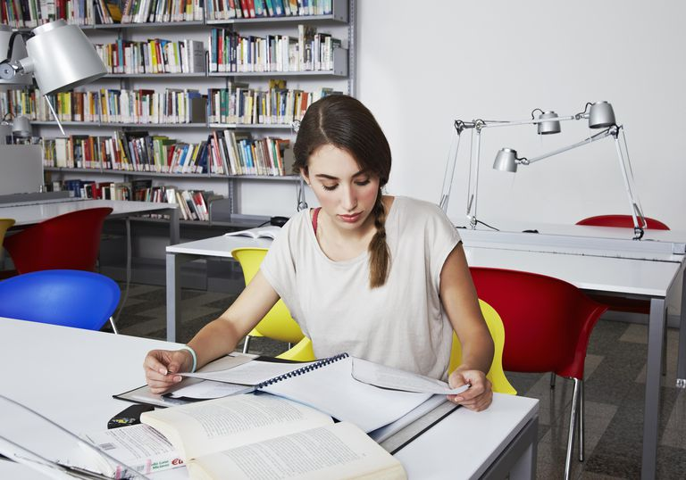 university, library, girl, plated hair, reading