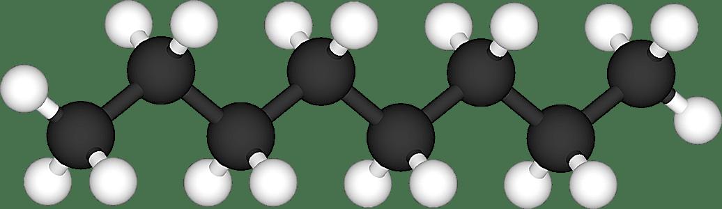 Este es el modelo de bola y palo de la molécula de octano.