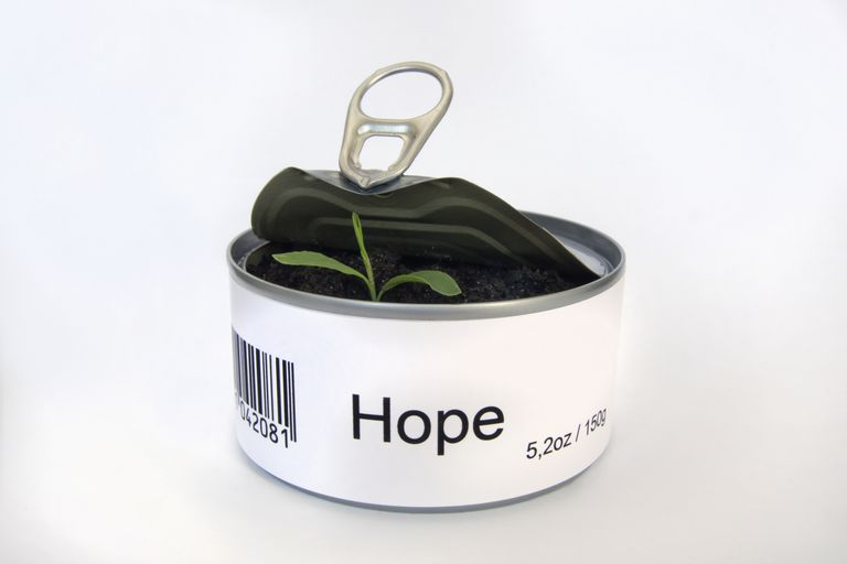 "A tin can with the word ""Hope"" on it and a plant growing inside."