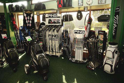 Golf equipment on display.