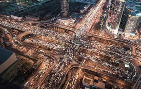 Aerial View of Traffic Jam in Beijing at Night