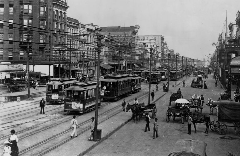 Photograph of New Orleans streetcars