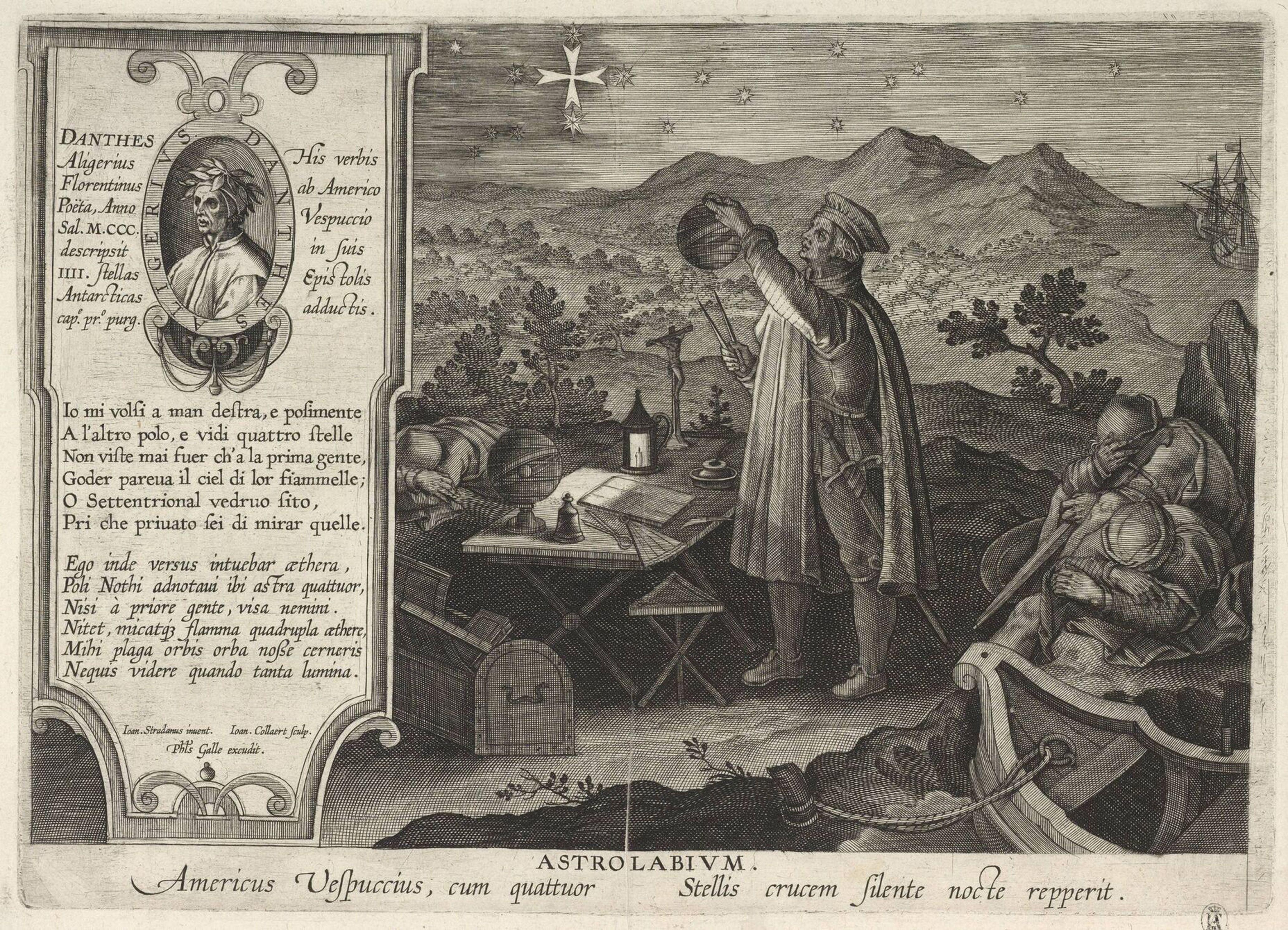 Amerigo Vespucci finding the Southern Cross constellation with an astrolabe (Americae Retectio), 1591. Artist: Galle, Philipp (1537-1612)